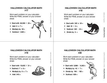 HALLOWEEN CALCULATOR MATH PROBLEMS | Multi-Step Task Cards | Halloween Art