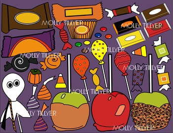 HALLOWEEN CANDY CLIP ART - COLOR AND B/W