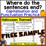 HALLOWEEN CAPITALIZATION and PUNCTUATION Where do the sentences end? FREE SAMPLE
