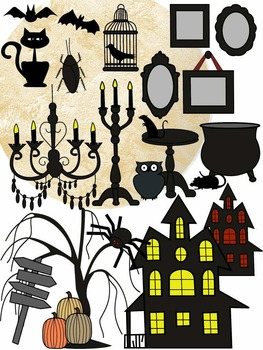 HALLOWEEN CLIP ART * COLOR AND BLACK AND WHITE