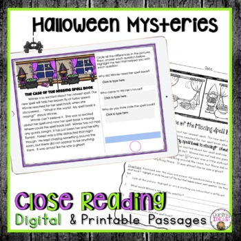 HALLOWEEN CLOSE READING PASSAGES FOR COMPREHENSION PRACTICE
