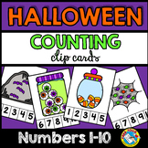 HALLOWEEN ACTIVITIES PRESCHOOL, KINDERGARTEN OCTOBER COUNTING 1-10 CLIP CARDS
