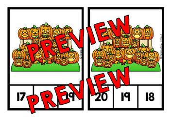 HALLOWEEN ACTIVITY KINDERGARTEN  (OCTOBER MATH CENTER) COUNTING 1-20 TASK CARDS