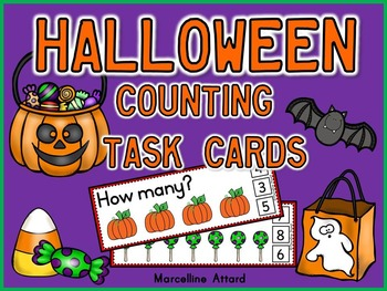 HALLOWEEN MATH ACTIVITIES: HALLOWEEN COUNTING CLIP CARDS: NUMBERS 1-10 CENTER