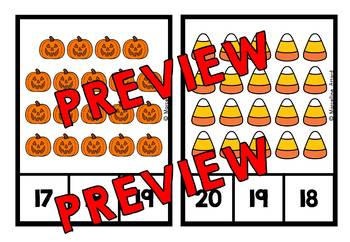 HALLOWEEN COUNTING TO 20 TASK CARDS (OCTOBER ACTIVITY KINDERGARTEN MATH CENTER)