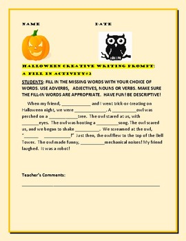 HALLOWEEN CREATIVE WRITING PROMPT:A FILL IN ACTIVITY #2