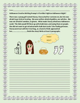 HALLOWEEN CREATIVE WRITING PROMPT: A TERRIBLE FRIGHT ON HA