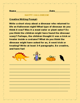 HALLOWEEN CREATIVE WRITING PROMPT: RETURN OF THE DINOSAUR