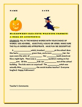 HALLOWEEN CREATIVE WRITING PROMPT:FILL IN #1