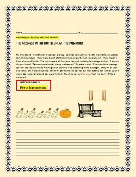 HALLOWEEN CREATIVE WRITING PROMPT: MESSAGE IN A BOTTLE, NEAR THE PUMPKIN!