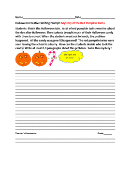 HALLOWEEN CREATIVE WRITING PROMPT: MYSTERY OF THE RED PUMPKIN TWINS
