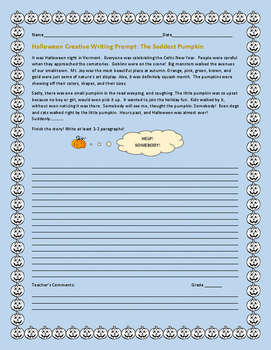 HALLOWEEN CREATIVE WRITING PROMPT: SADDEST PUMPKIN