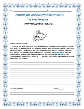 HALLOWEEN CREATIVE WRITING PROMPT: THE BLUE PUMPKIN