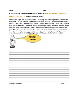 HALLOWEEN CREATIVE WRITING PROMPT: THE HALLOWEEN ROBOT
