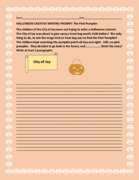 HALLOWEEN CREATIVE WRITING PROMPT: THE PINK PUMPKIN