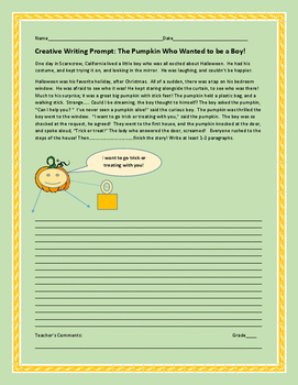 HALLOWEEN CREATIVE WRITING PROMPT: THE PUMPKIN WHO WANTED TO BE A BOY!