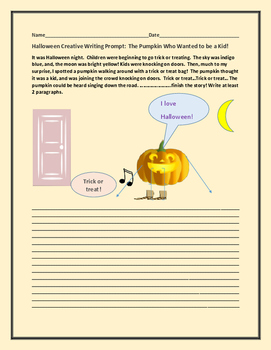 HALLOWEEN CREATIVE WRITING PROMPT: THE PUMPKIN WHO WANTED TO BE A KID!