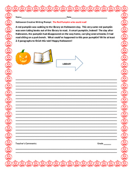 HALLOWEEN CREATIVE WRITING PROMPT: THE PUMPKIN WHO READ BOOKS!