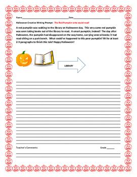 HALLOWEEN CREATIVE WRITING PROMPT: THE PUMPKIN WHO READ BOOKS!