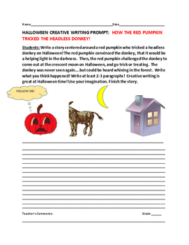 HALLOWEEN CREATIVE WRITING PROMPT: THE RED PUMPKIN & THE HEADLESS DONKEY