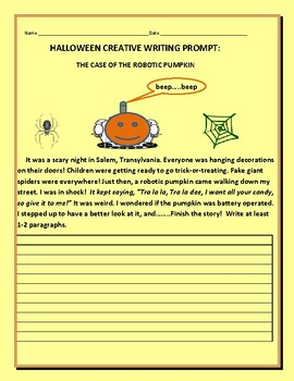 HALLOWEEN CREATIVE WRITING PROMPT: THE ROBOTIC PUMPKIN