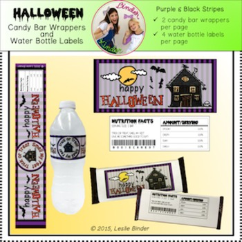 Halloween-Candy Bar Wrappers and Water Bottle Labels-04