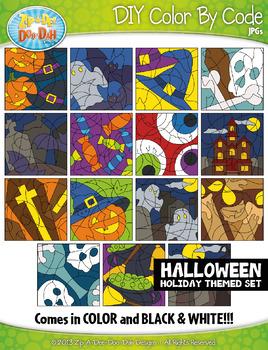 HALLOWEEN Color By Code Clipart {Zip-A-Dee-Doo-Dah Designs}