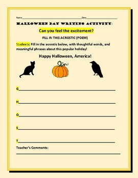 HALLOWEEN DAY WRITING ACTIVITY: ACROSTIC: CAN YOU FEEL THE EXCITEMENT?