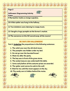 HALLOWEEN DIAGRAMMING:  PARTS OF SPEECH ACTIVITY: 3-7, ESL