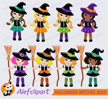 HALLOWEEN Digital Clipart, Halloween Witch Clipart, Witch Clipart