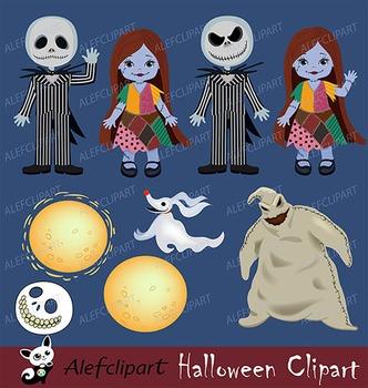 HALLOWEEN Digital Clipart, Nightmare halloween, Skeleton Clipart.