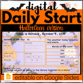 HALLOWEEN Digital Daily Start - *EDITABLE* GOOGLE: Morning Meeting, Calendar