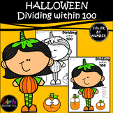 HALLOWEEN Dividing within 100 Worksheet Color by Number 3rd Grade Math