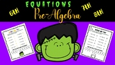 """PRE-ALGEBRA EQUATIONS """"RIDDLE ME THIS"""" FOR HALLOWEEN FREE"""