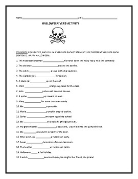 HALLOWEEN FILL IN VERB ACTIVITY