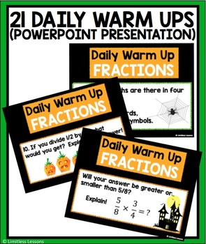 HALLOWEEN MULTIPLY AND DIVIDE FRACTIONS WARM UPS AND TASK CARDS