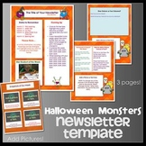 HALLOWEEN FRIENDLY MONSTERS theme - Newsletter Template WORD