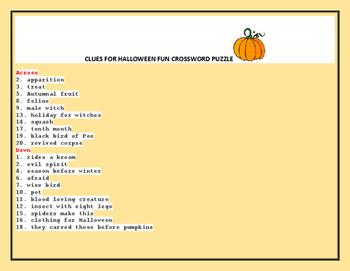 HALLOWEEN CROSSWORD PUZZLE: GRADES 4-8