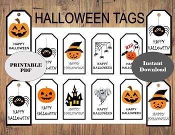 photo regarding Printable Halloween Gift Tags called HALLOWEEN Present Tag/ Printable Reward Tag/ pumpkin tag /