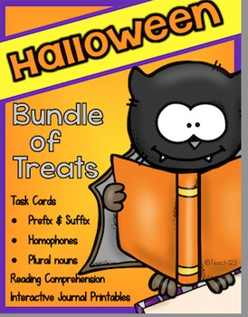HALLOWEEN Task Cards Literacy Center Interactive Journal