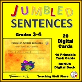 HALLOWEEN ... Jumbled Sentences ... Grades 3-4 DIGITAL DECK  Plus BONUS DECK