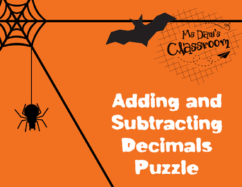 HALLOWEEN MATH ACTIVITY - ADDING AND SUBTRACTING DECIMALS GAME