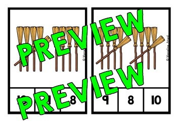 HALLOWEEN MATH CENTER (WITCH'S BROOM COUNTING ACTIVITIES 1-10)
