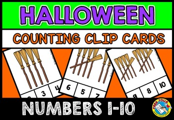 HALLOWEEN MATH CENTER: WITCH'S BROOM COUNTING CLIP CARDS: