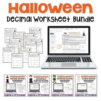 Halloween Math Decimal Worksheet Bundle (Differentiated)