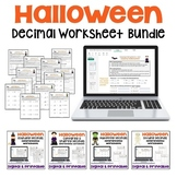 Halloween Math Decimal Worksheet Bundle for Morning Work and Math Centers