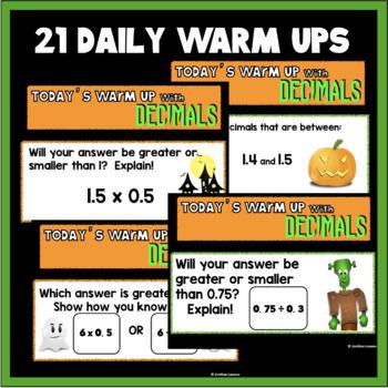 HALLOWEEN DECIMALS WARM UPS AND TASK CARDS