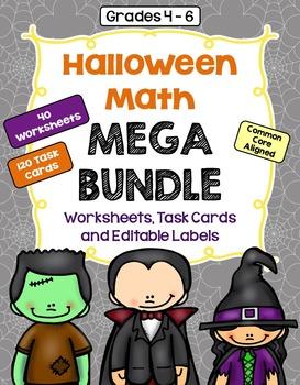 Halloween Math Mega Bundle (Worksheets, Task Cards, and Editable Labels)