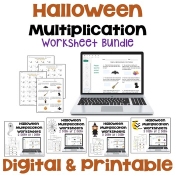 Halloween Multiplication Worksheet Bundle (3 Levels PLUS Word Problems)