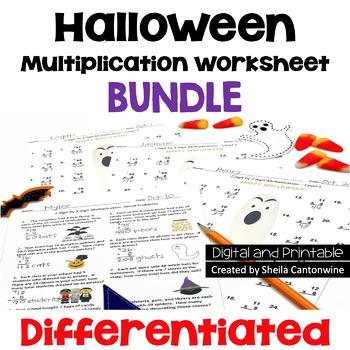 Halloween Multiplication Worksheet Bundle (3 Levels PLUS W